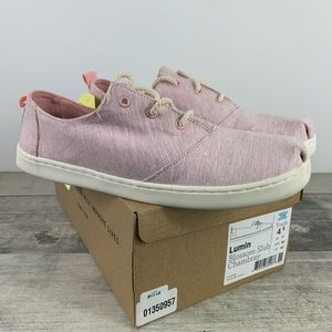 NIB TOMS Casual Shoe Lace up Pink Lumin Youth